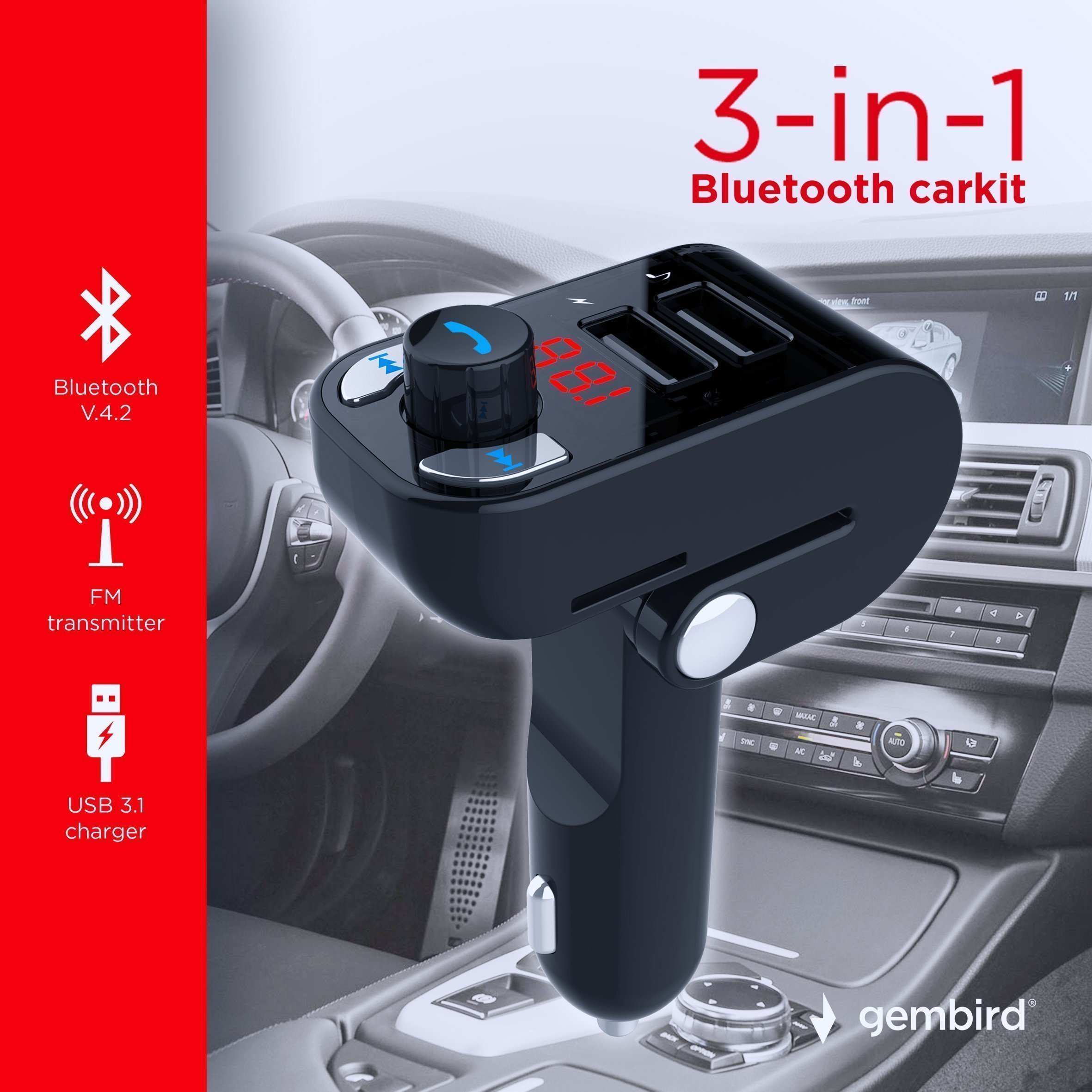 3-in-1 Bluetooth carkit with FM-radio transmitter and USB 3.1 A charger, black