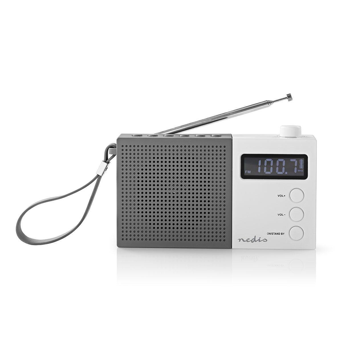 FM Radio 2.1W Clock  Alarm Multifunctional Turning Knob Grey / White