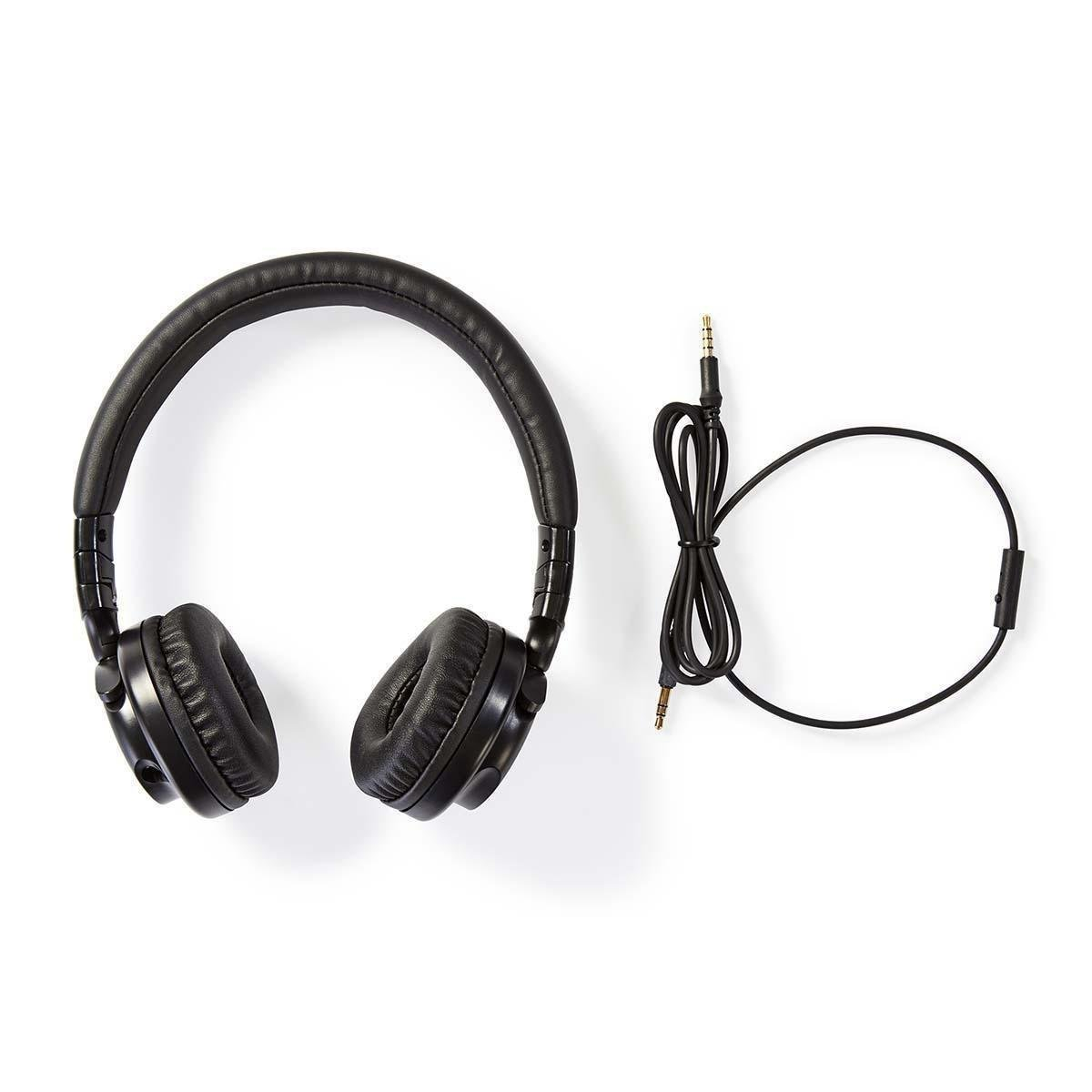 Wired Headphones On-ear Foldable 1.2 m Detachable Cable Black